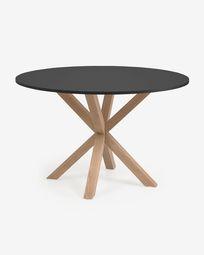 Στρογγυλό τραπέζι Πλήρες Argo DM μαύρο λακαρισμένο ατσάλινο πόδι effect 119 cm