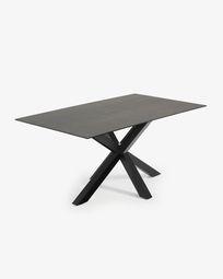 Τραπέζι Argo 180 εκ, πορσελάνη με φινίρισμα Iron Moss και μαύρα πόδια