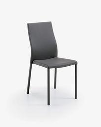 Καρέκλα Abelle, γκρι συνθετικό δέρμα