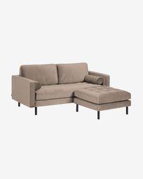 Debra 2-seater sofa with footrest in taupe velvet 182 cm