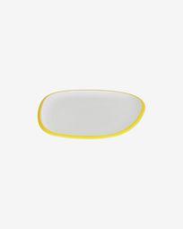 Πιάτο γλυκού σε πορσελάνη Odalin, κίτρινο και άσπρο