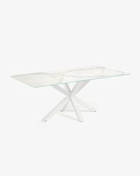 Τραπέζι Argo 200 εκ, πορσελάνη και λευκά πόδια