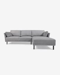 Gilma grey 3-seater sofa with right-hand chaise longue and legs with dark finish 260 cm