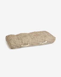 Jute and white natural cotton floor-pallet cushion Adelma 60 x 120 cm