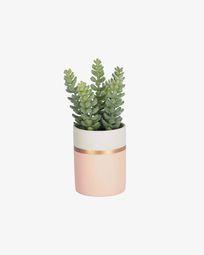 Τεχνητό φυτό Sedum lucidum plant σε ροζ κεραμικό κασπώ