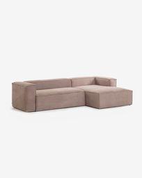 3θ καναπές με ανάκλινδρο δεξιά Blok, 300 εκ, ροζ κοτλέ