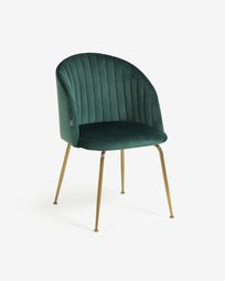 Lumina dark green velvet chair with steel legs with gold finish