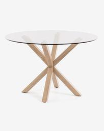 Τραπέζι Full Argo Ø 119 εκ, γυαλί, φυσικό