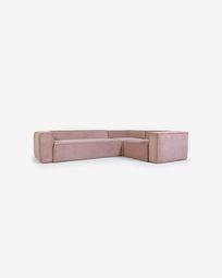 Γωνιακός καναπές 4θ Grey Blok 320 x 230 εκ, ροζ βελούδο