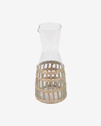 Emelia jug in transparent glass and brown fibre