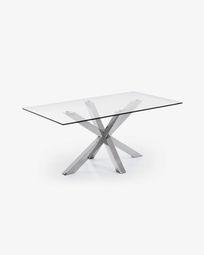 Τραπέζι Argo 160 εκ, γυαλί και πόδια από ανοξείδωτο ατσάλι
