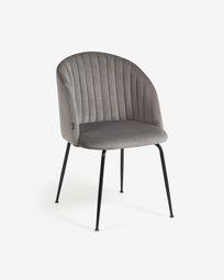 Καρέκλα Lumina, ανοιχτό γκρι βελούδο, πόδια σε ατσάλι σε μαύρο φινίρισμα