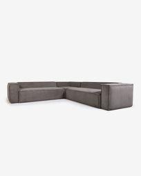 Γωναικός καναπές 6θ Blok, 320 x 320 εκ, γκρι κοτλέ