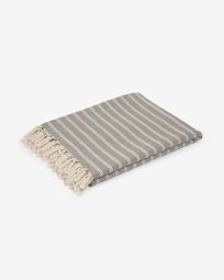 Sweeney 100% cotton blanket with grey and white stripes 170 x 130 cm