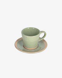 Κεραμική κούπα καφέ με πιατάκι Tilla, ανοιχτό πράσινο