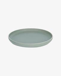 Shun flat plate in green porcelain