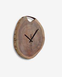 Yuliana round wall clock in solid acacia wood Ø 35 cm