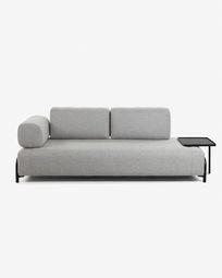 3θ καναπές με μεγάλο δίσκο Compo 252 εκ, ανοιχτό γκρι