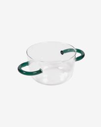 Dusnela transparent and turquoise glass bowl