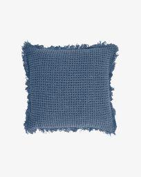 Shallowy 100% cotton cushion cover in blue 45 x 45 cm