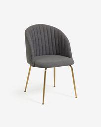 Καρέκλα Lumina, σκούρο γκρι, πόδια σε ατσάλι σε χρυσό φινίρισμα