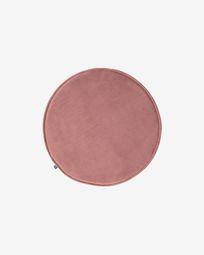 Rimca round velvet chair cushion in pink, 35 cm
