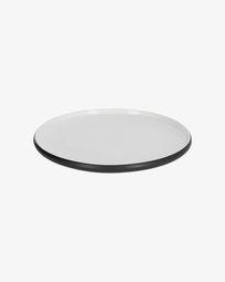 Επίπεδο πιάτο Sadashi, μαύρη και άσπρη πορσελάνη