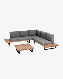 Zalika 5-seater corner sofa and solid acacia coffee table set (100% FSC)