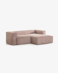2θ καναπές με ανάκλινδρο δεξιά Blok 240 εκ, ροζ βελούδο